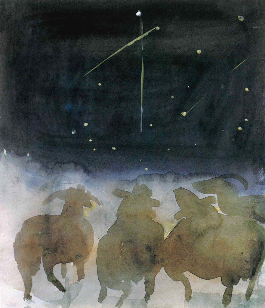 watercolur of sheep looking towards the night sky at shooting stars