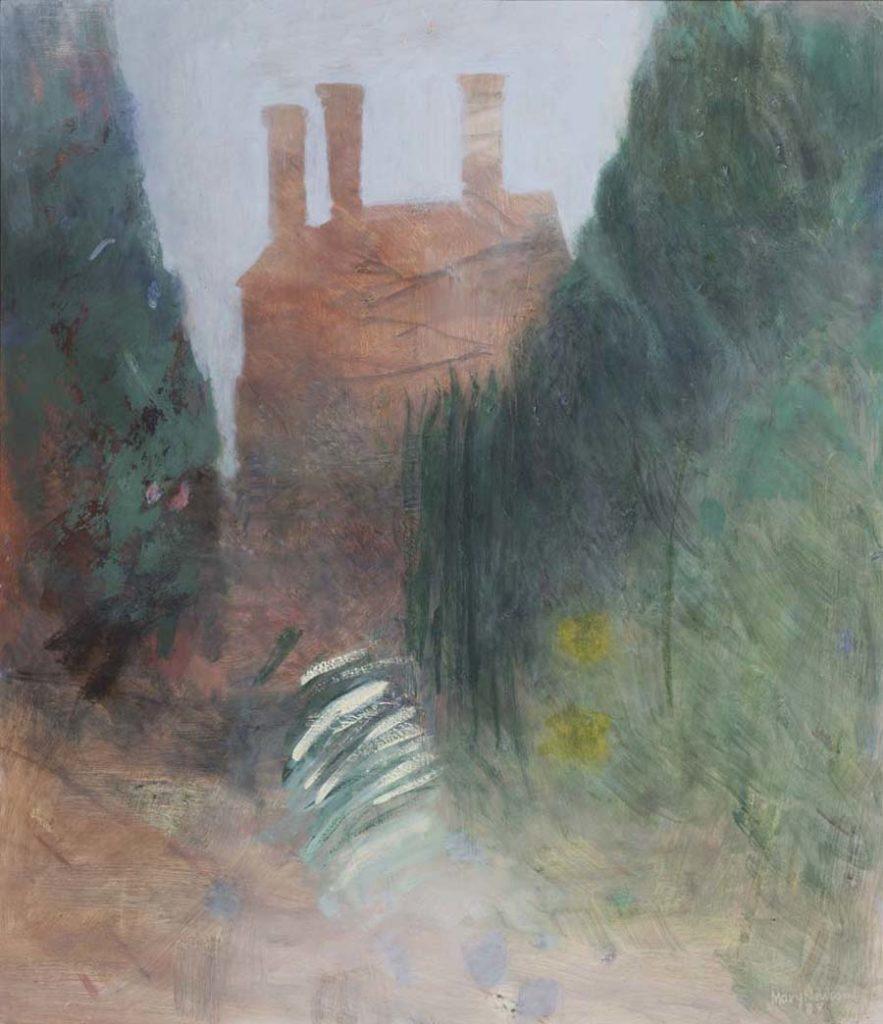 painting lookinmg down a lane towards a haystack