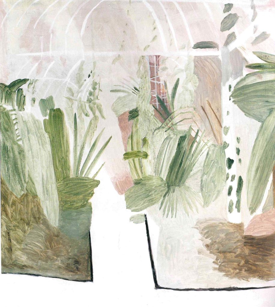 painting of plants in a greenhouse