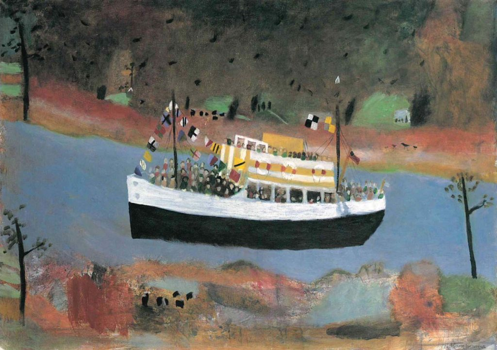 painting of a ferry boat on a river