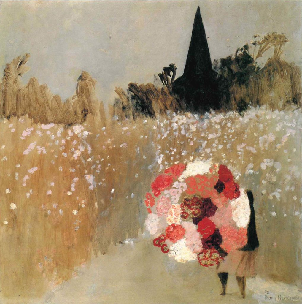 painting of a woman walking through a filed towards a church spire carrying a large bunch of flowers