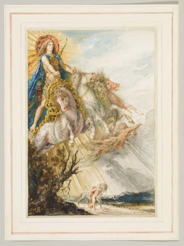 watercolour of a male figure riding a horse drawn chariot through the sky