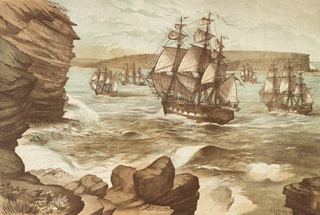 drawing of ships entering a bay