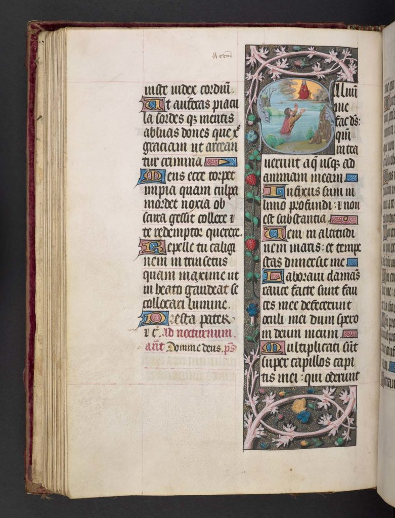 page of an illuminated manuscript with two columns of gothic