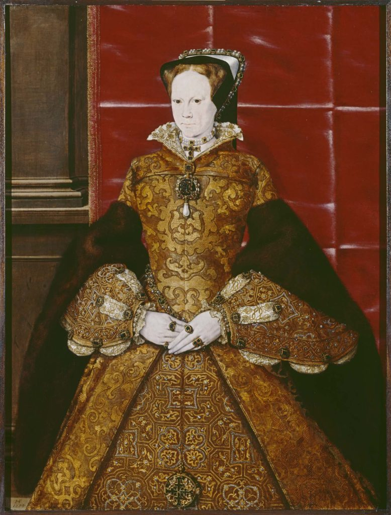 formal painting Mary I in gold dress and black cloak
