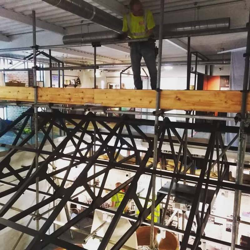 photo of scaffolding inside a museum