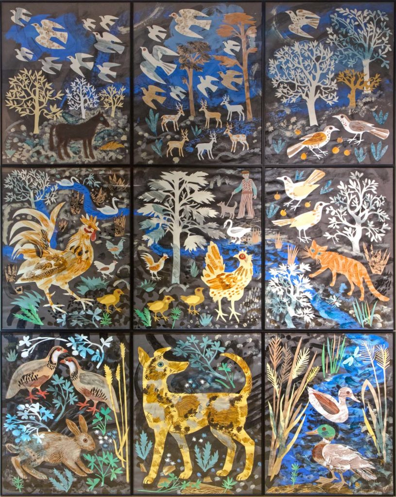 a panel collage of nine decorative print panels showing country scenes and animals