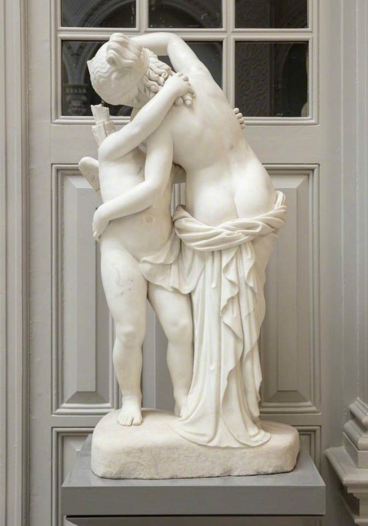 victorian classical style sculpture of Cupid and Psyche