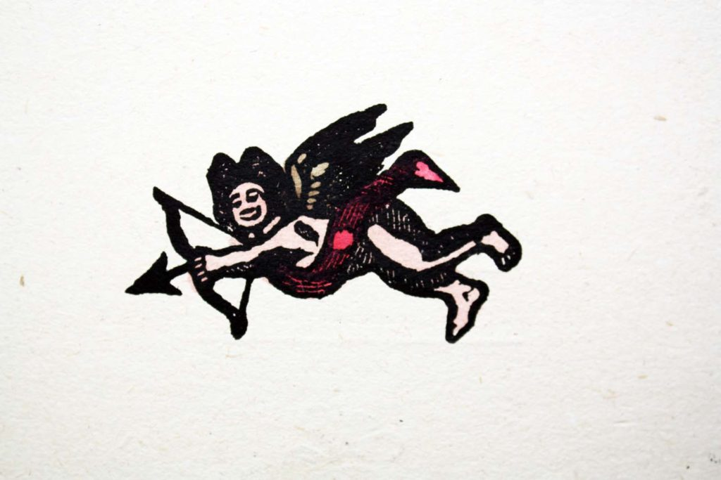 illustration print of cupid firing his arrow