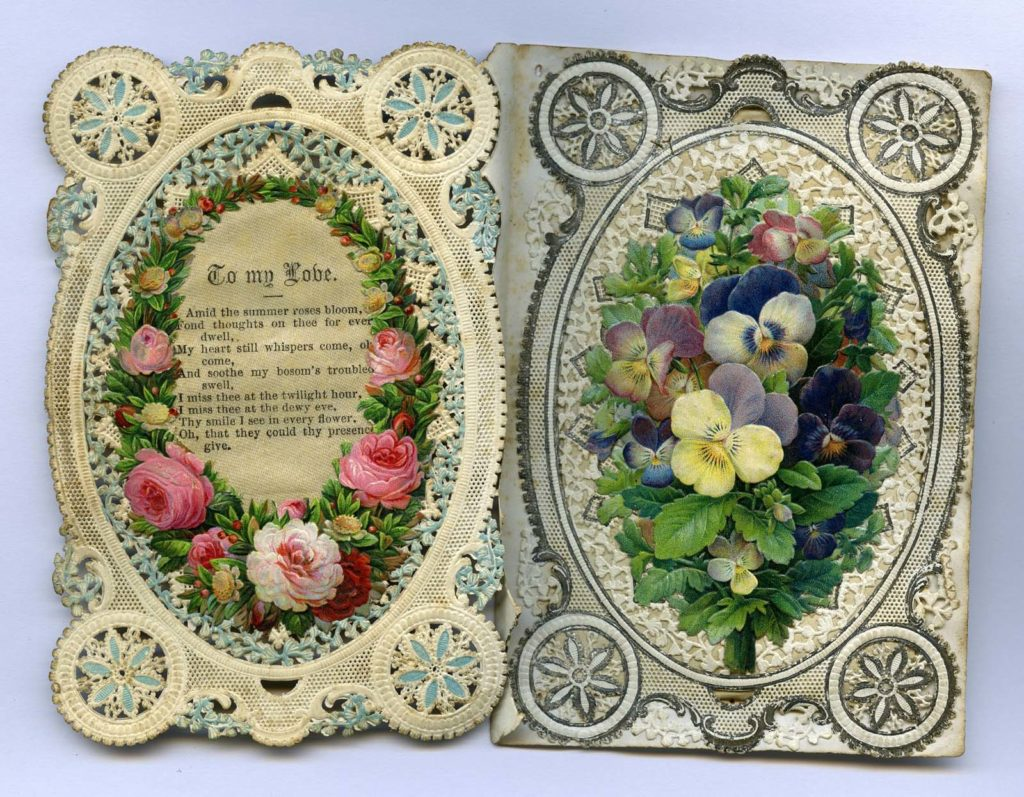 a valentine postcard embroidered with flowers and a verse