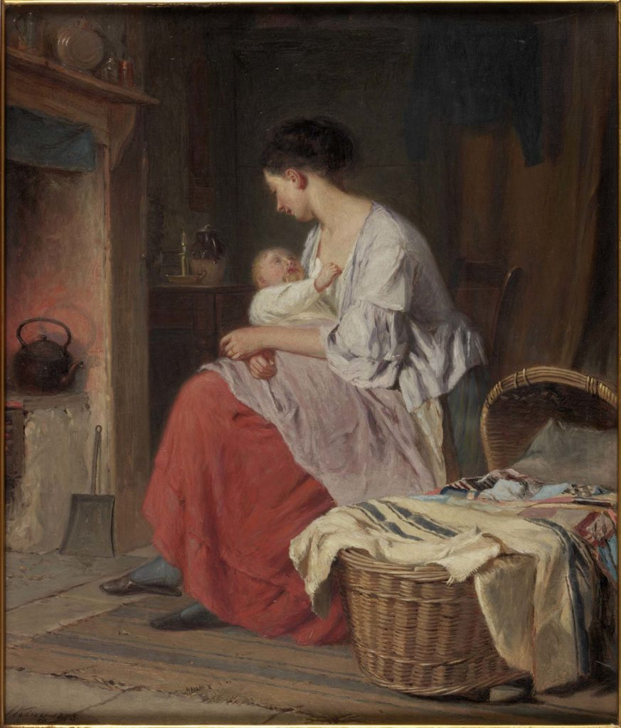 painting of a woman holding a child next to a fireplace