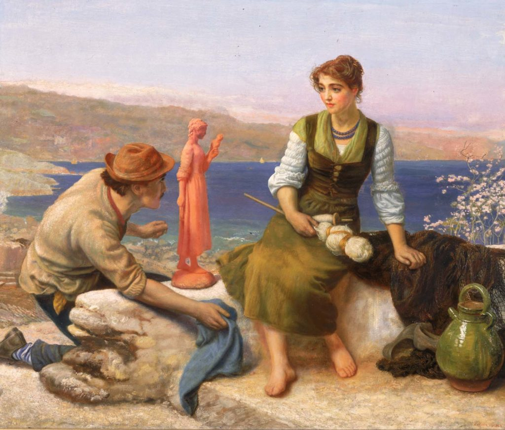 painting of a man presenting a sculpture of woman to a young woman sat above a bay