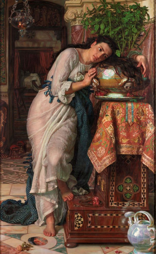 painting of a woman with her hair and arms wrapped around a pot of basil