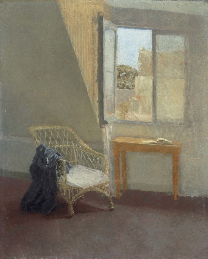 painting of the corner of an attic room with the window open onto rooftops