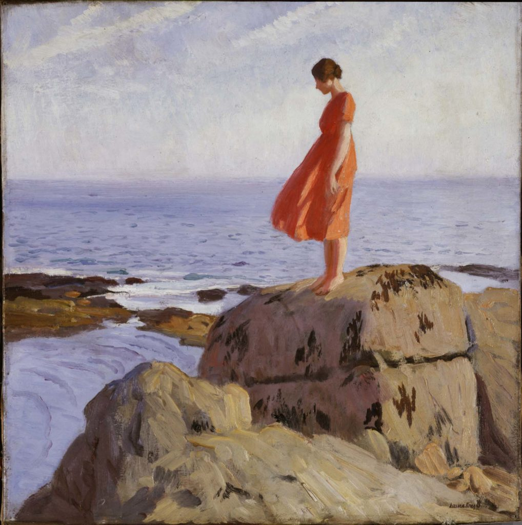 painting of a solitary woman in an orange dress tanding on rocks by the sea