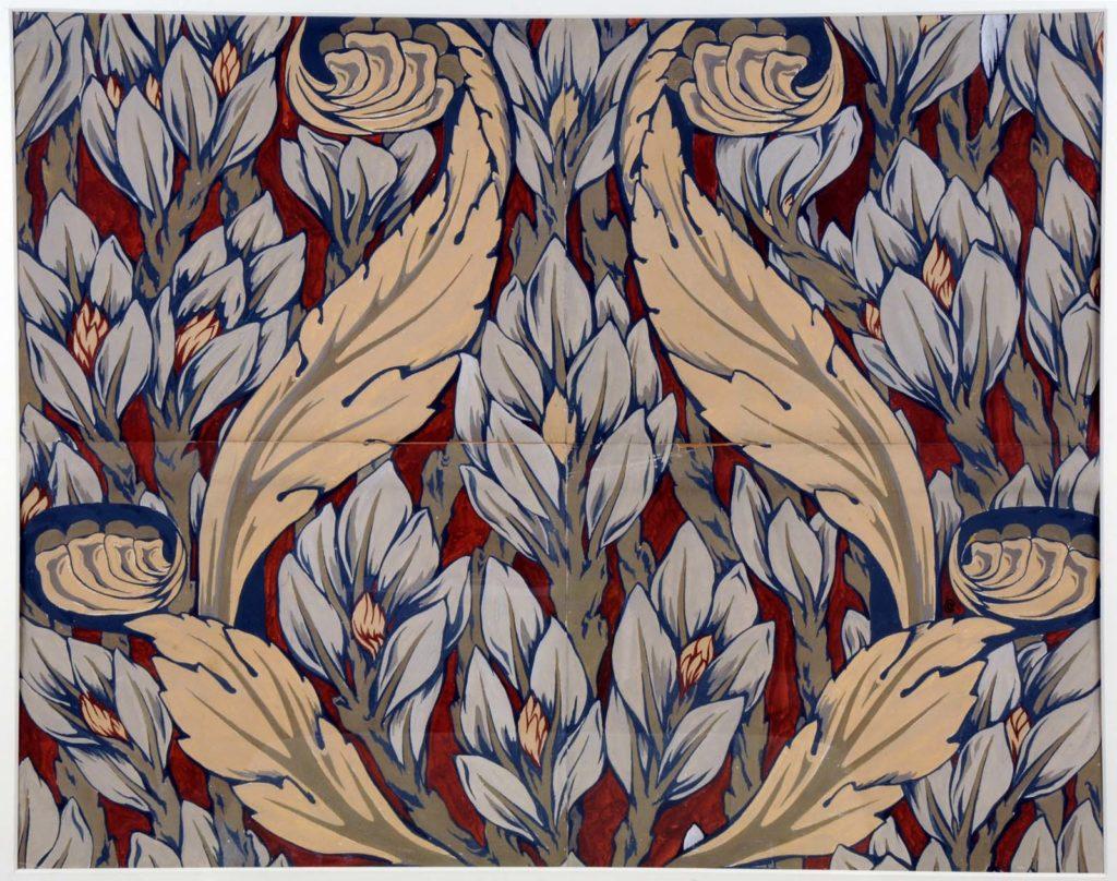 a swirling geometric leaf design