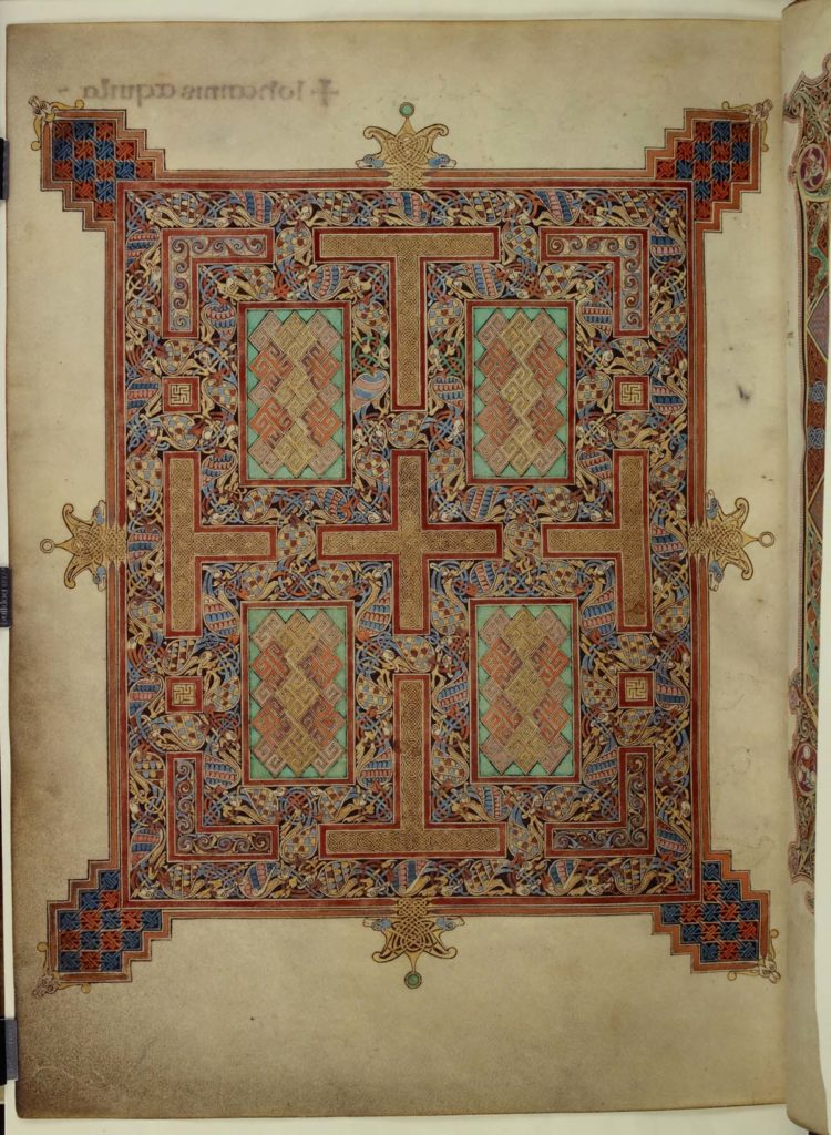 illumniated manuscript with an illustration styled like a medieval woven carpet