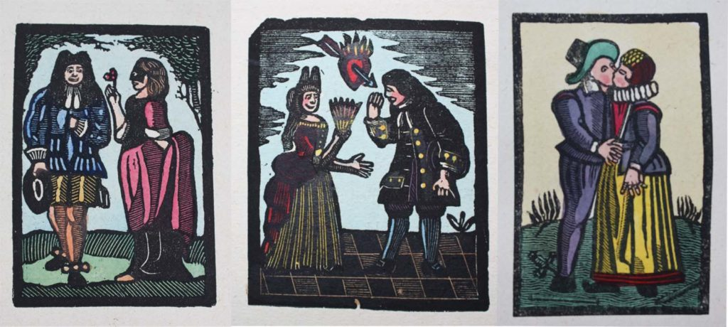 as triptych of three illustrations of Romantic love