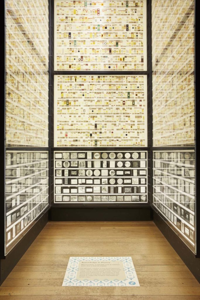 photo of a cboid room filled with light panels covered in slide specimens