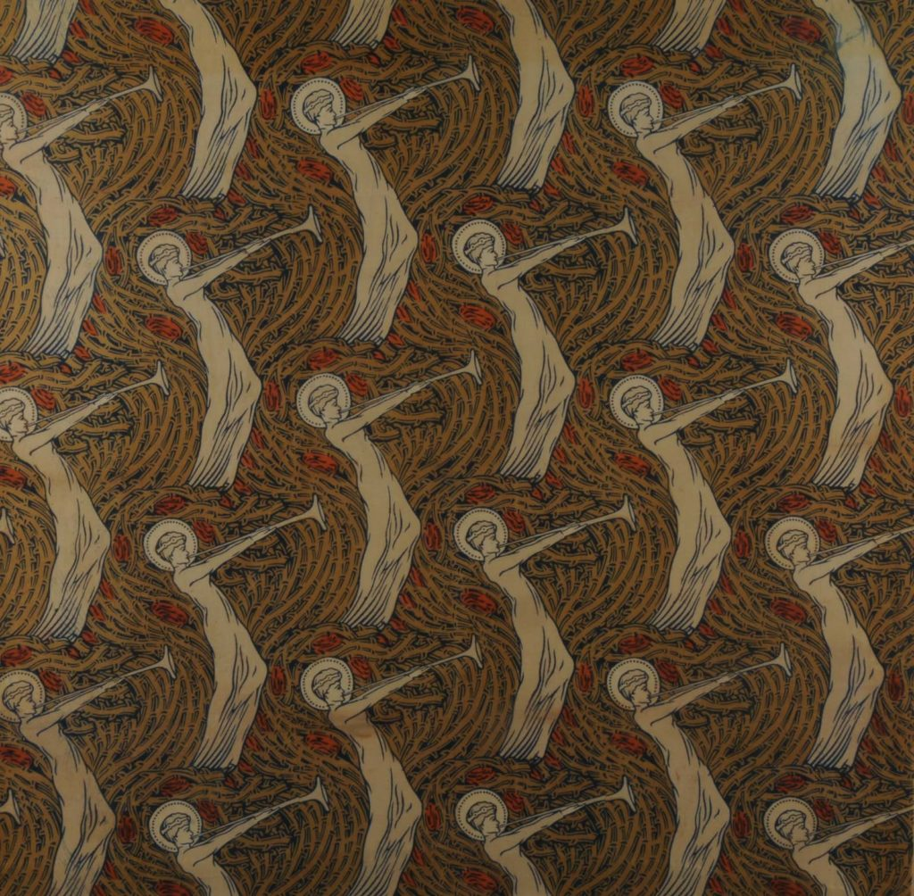 brown wallpaper with repeating pattern of a dancing girl with a trumpet