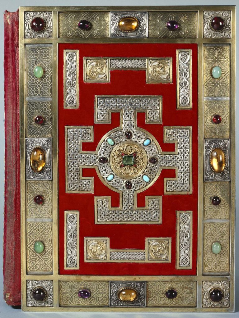 embossed book cover with medieval geometric design