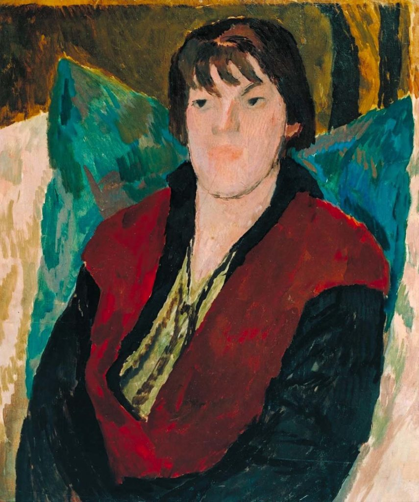painted portrait of a woman with shoulder length hair and red jacket seated on an armchair