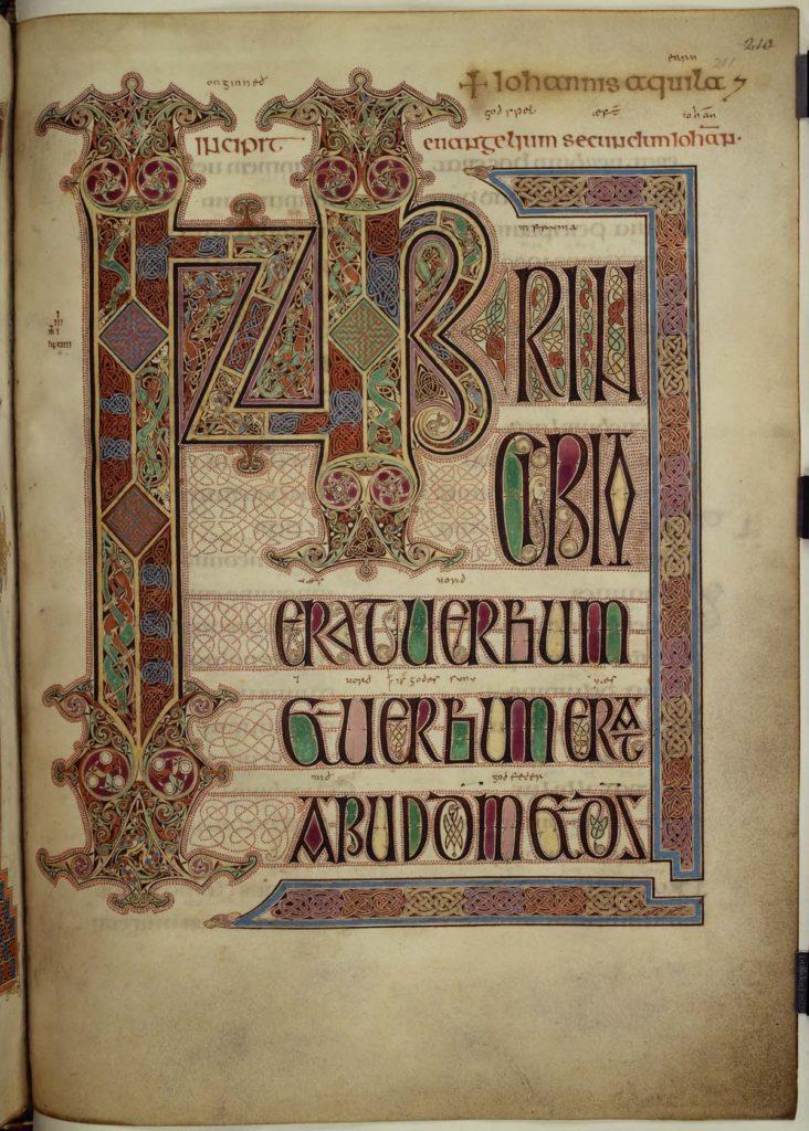 illuminated manuscript page with illuminated lettering