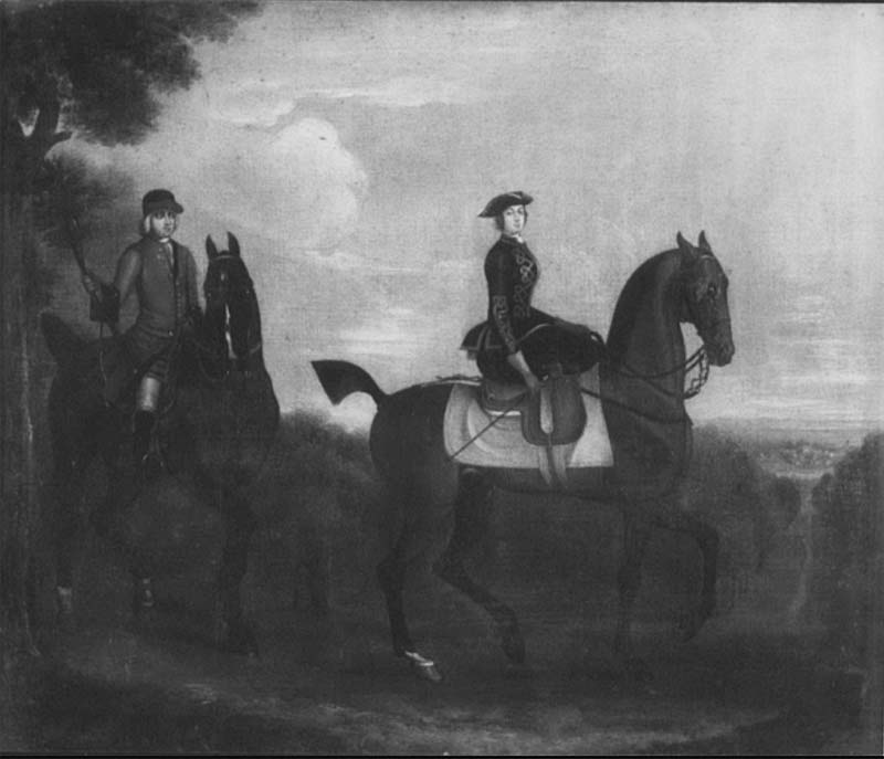 print of a woman riding a horse side saddle