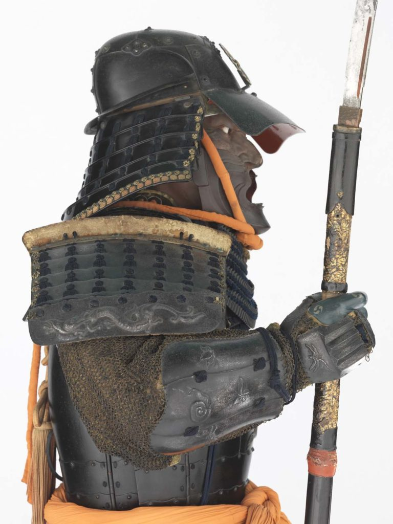 side view of Samurai armour on a mannequin