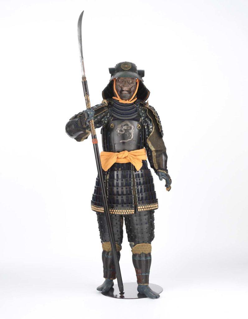 full sized mannequin dressed in samurai armour