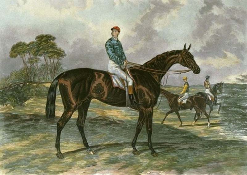 painted portrait of a racehorse with mounted jockey