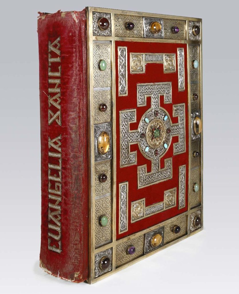 Velvet covered book with inlaid gold lettering
