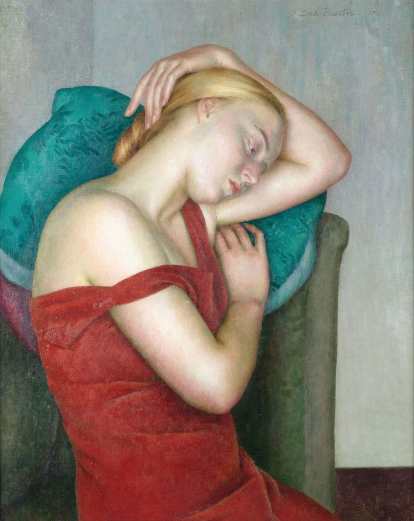 side portrait of blonde woman leaning against a chair with the shoulder of her dress down her arm