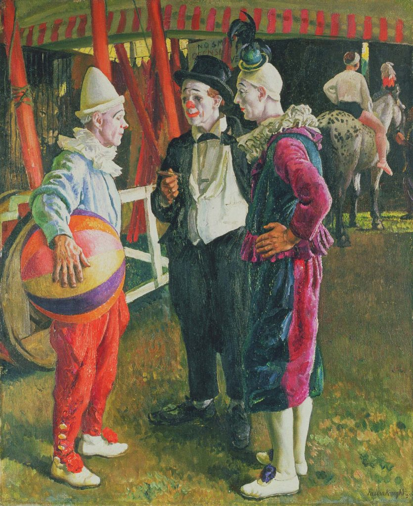 a painting of three male clowns talking to each other outside a circus tent