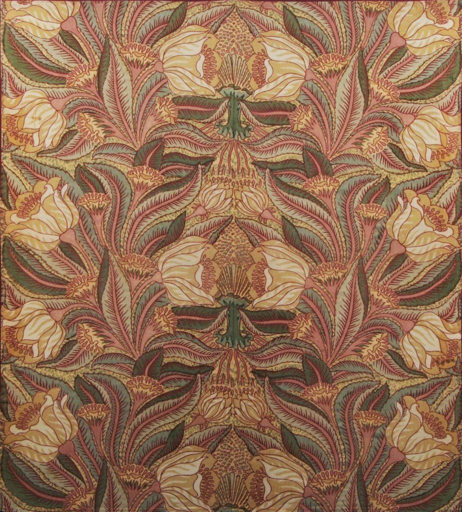 a large floral square framed textile design