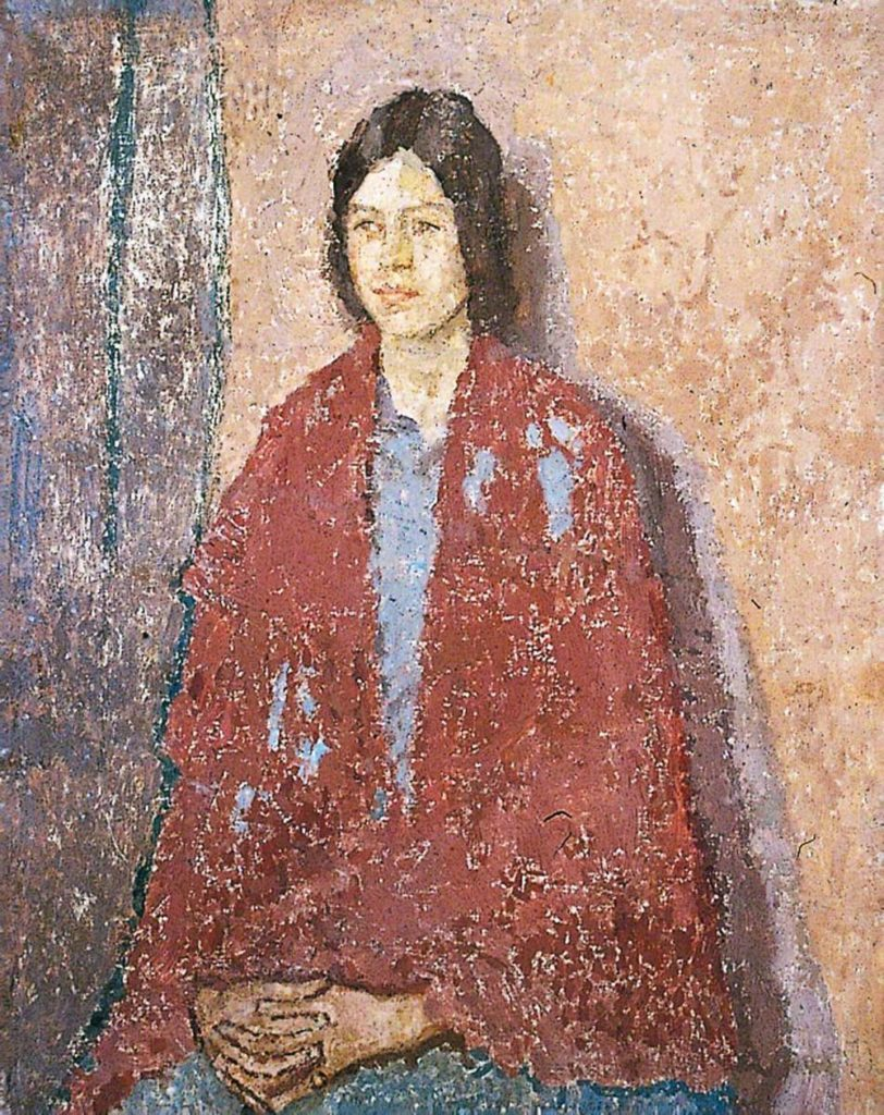 painitng of a young woman with auburn hair wearing a large, red shawl