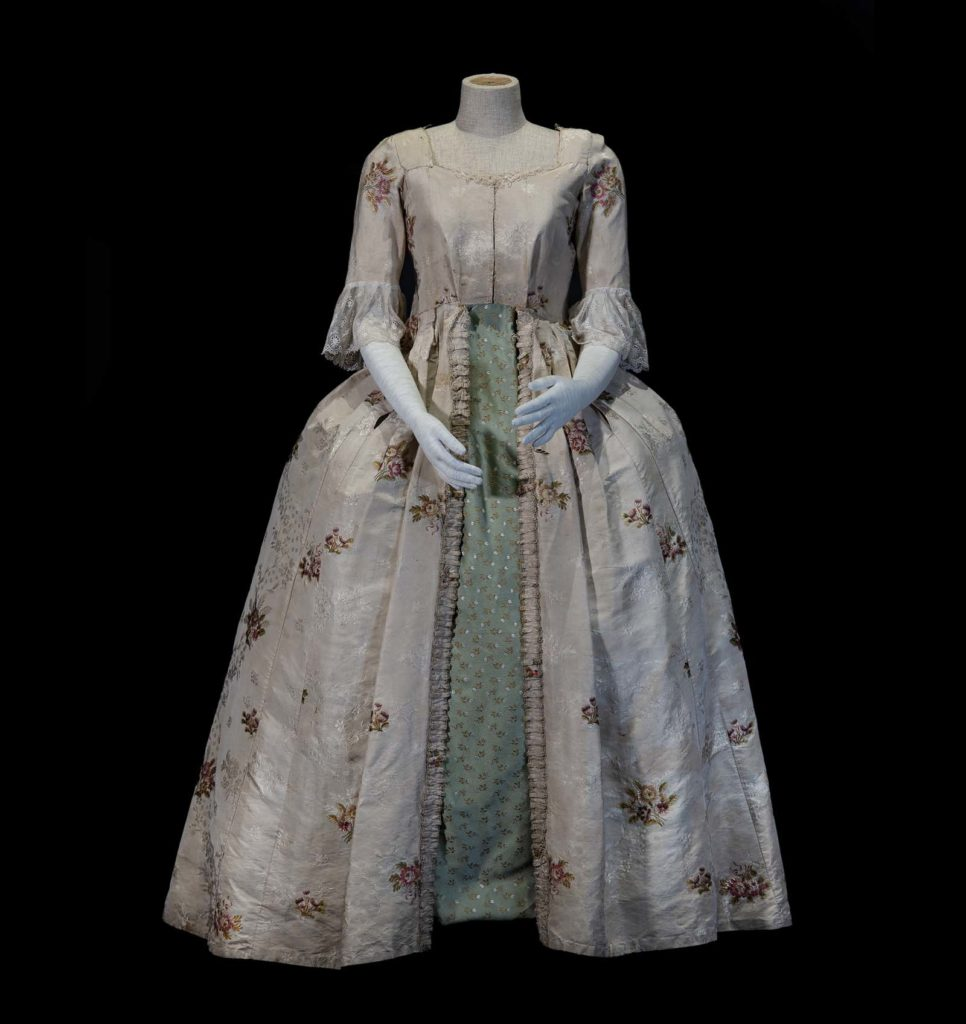 photo of an eighteenth century ladies dress with wide bustle