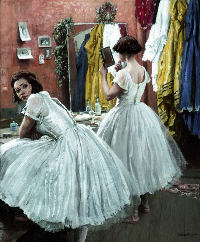 painting of two young female dancers in white dresses in their dressing room