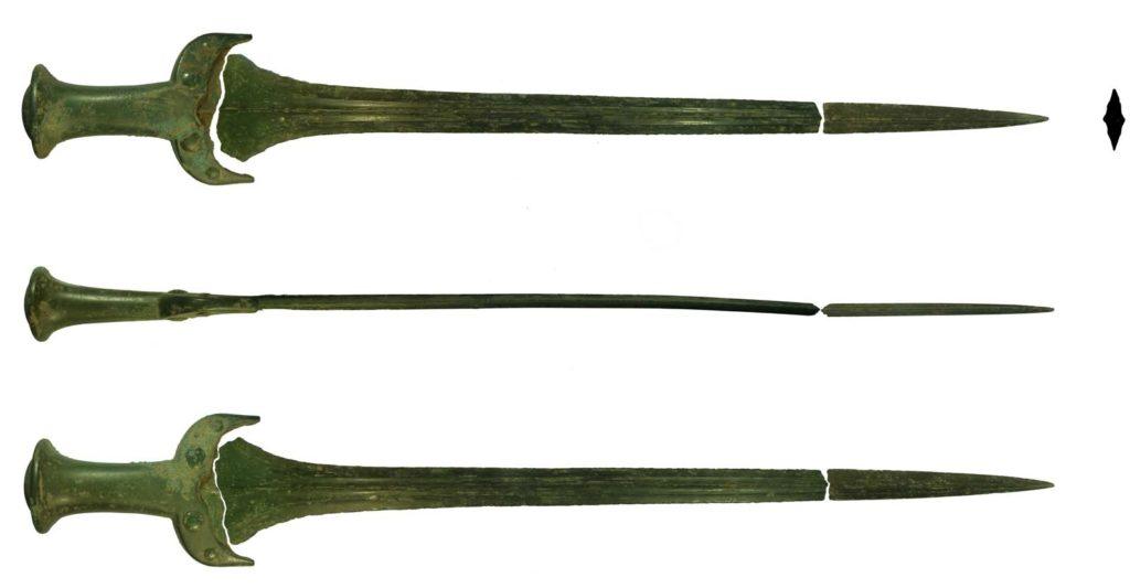 three photograph of a bronze sword with a broken blade