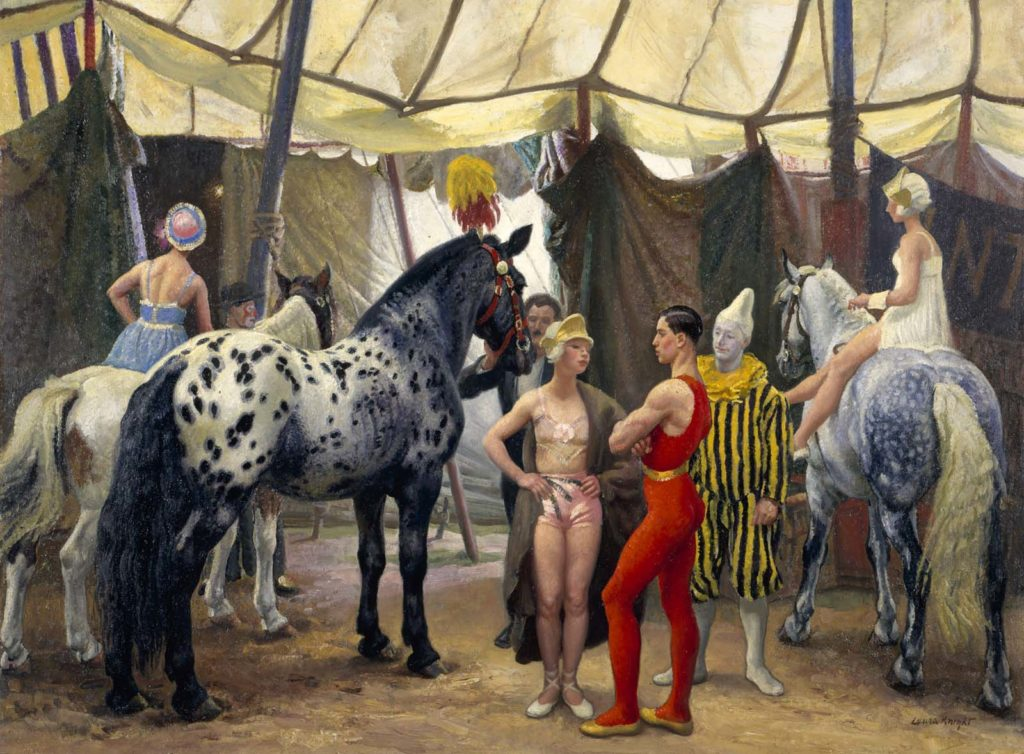 painting of a circus people including horse riders, acrobats and clowns gathering offstage in a circus tent