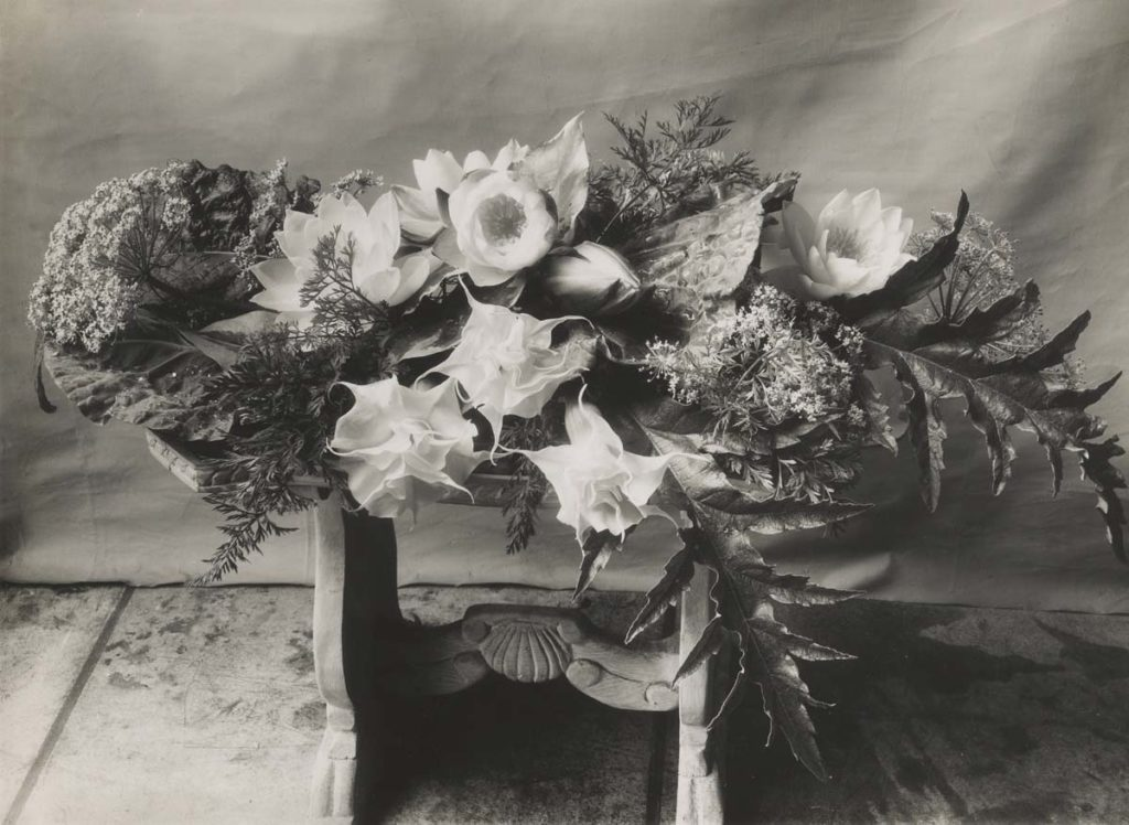 black and white photo of an arrangement of flowers in a wooden basket