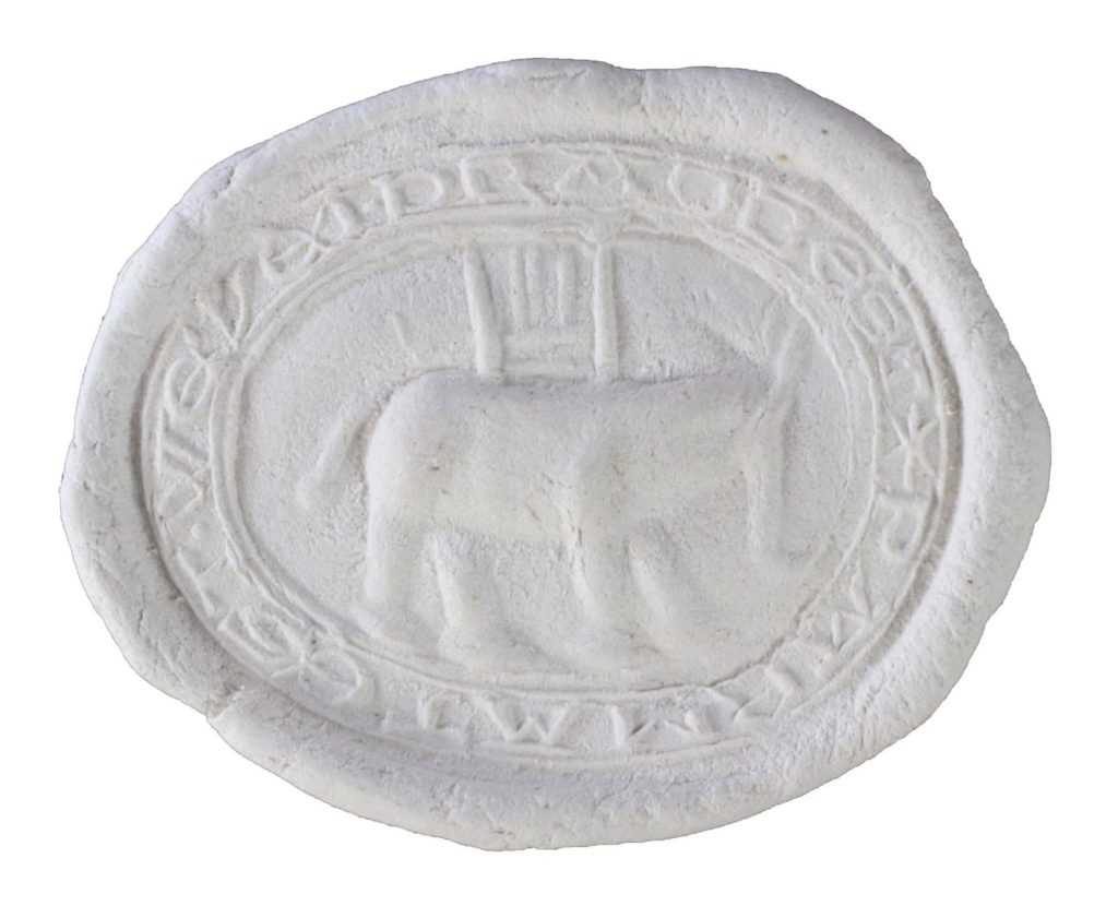 a seal imprint with discernible shape and form of an elephant
