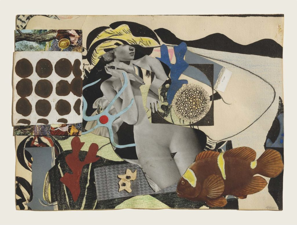a collage with a nude female in the centre