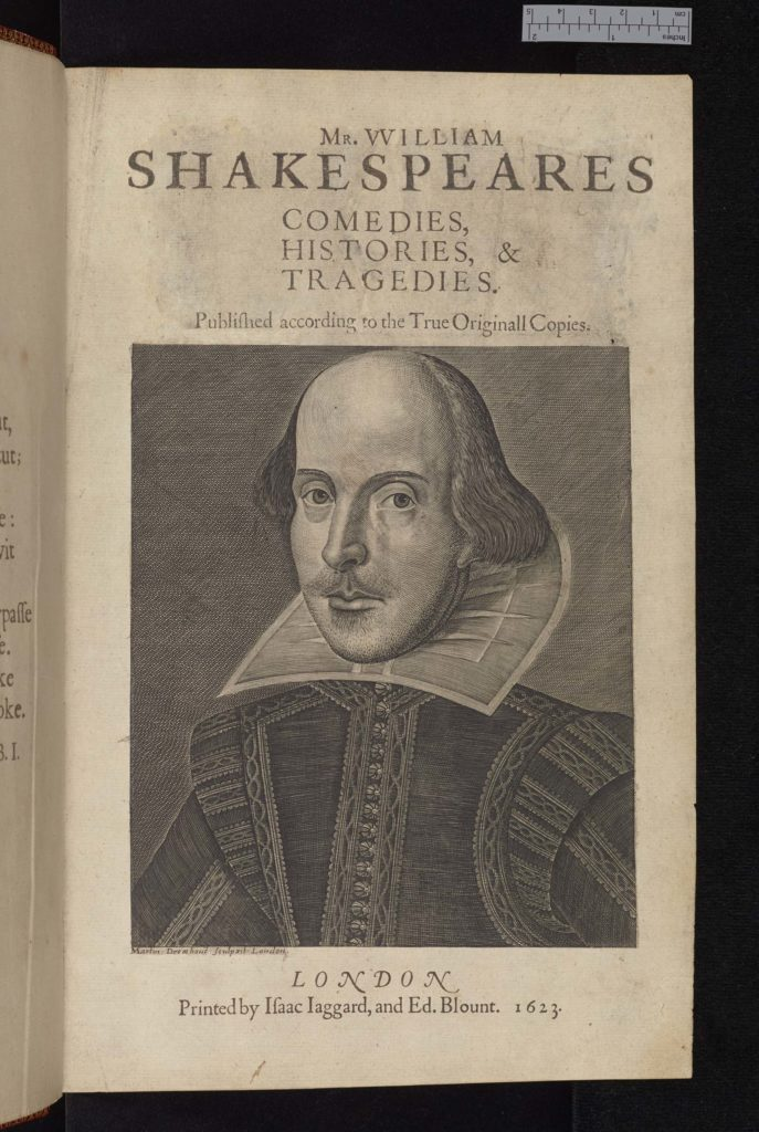 book frontispiece with illustration of William Shakespeare with his bald head ruffled collar and moustache