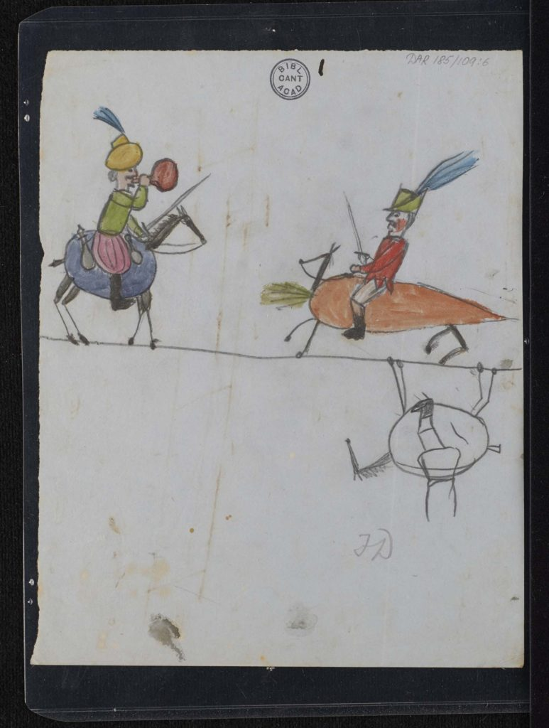 kids doodles of people riding vegetables with swords and so forth