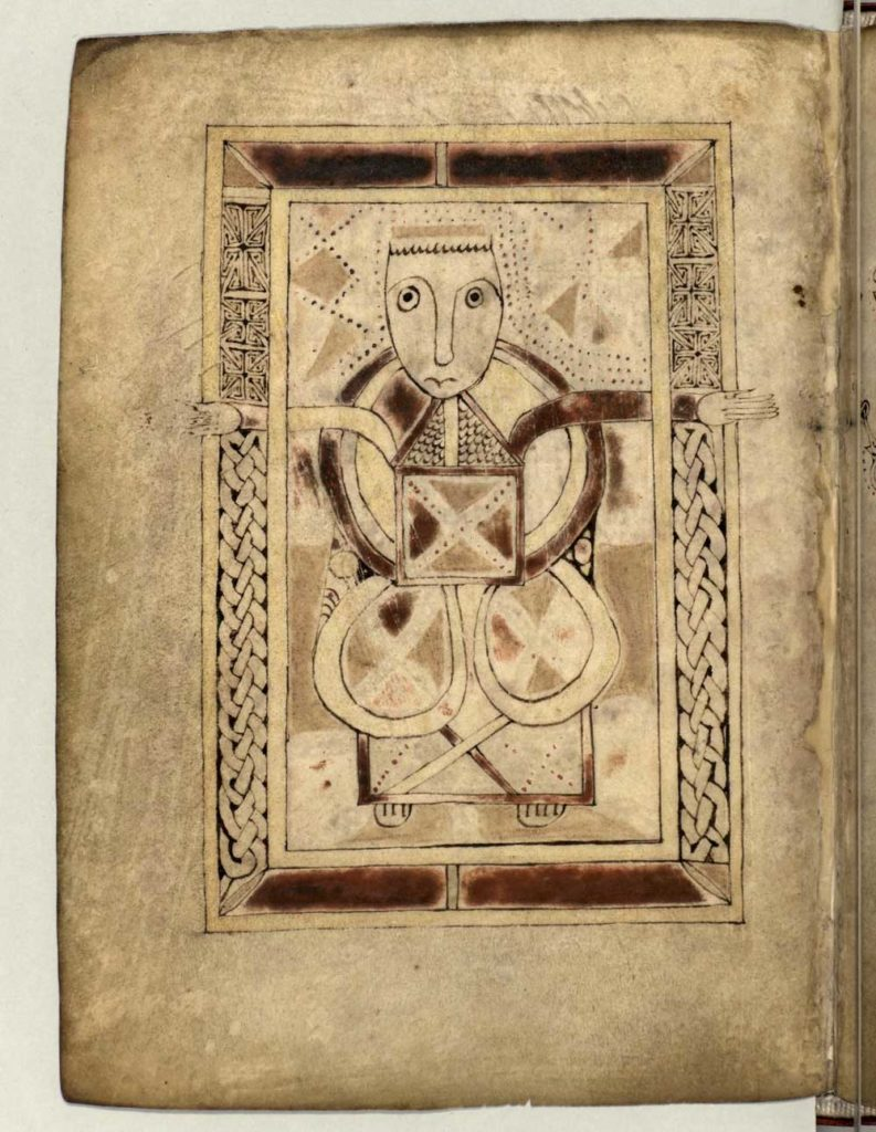 illustration on vellum with a face above Celtic style scrollwork body