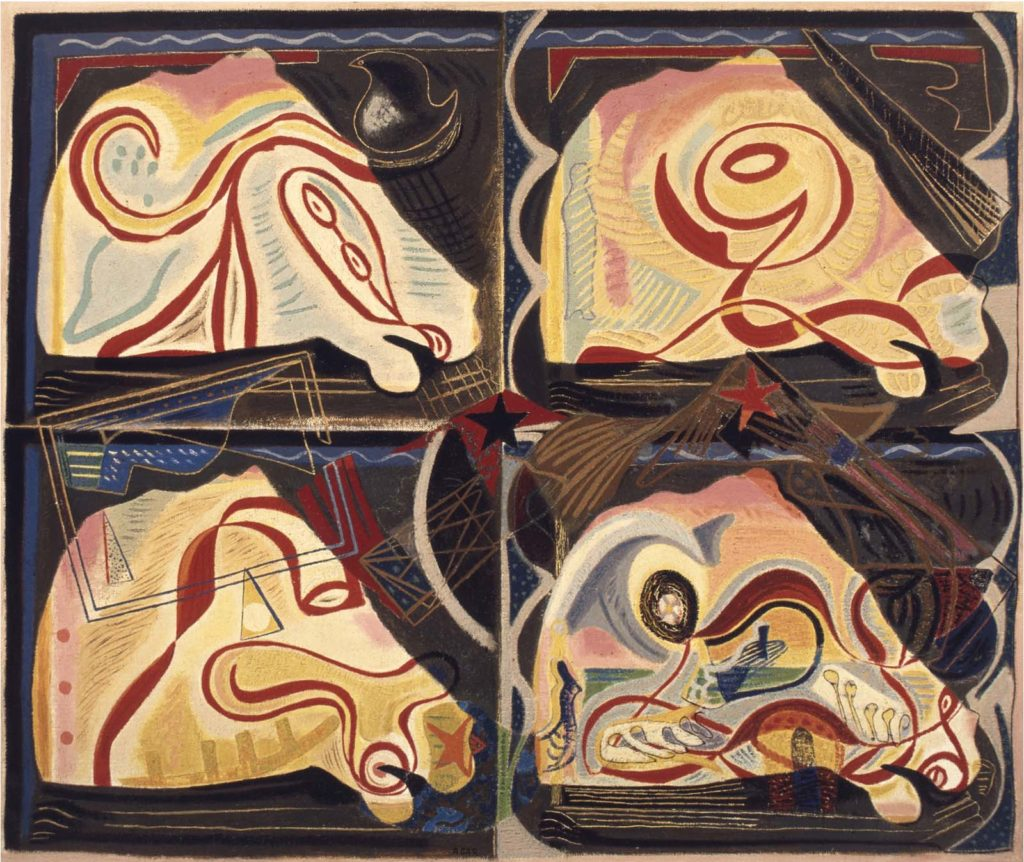 four abstract paintings of a horse