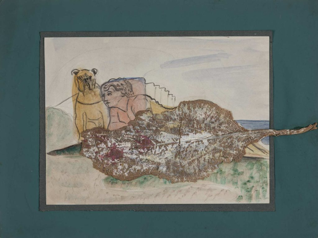 drawing of a reclining woman with a dog and leaf collaged over the top