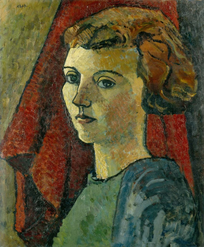 oil painting self portrait of a young woman with red hair cut in bangs and short at the back