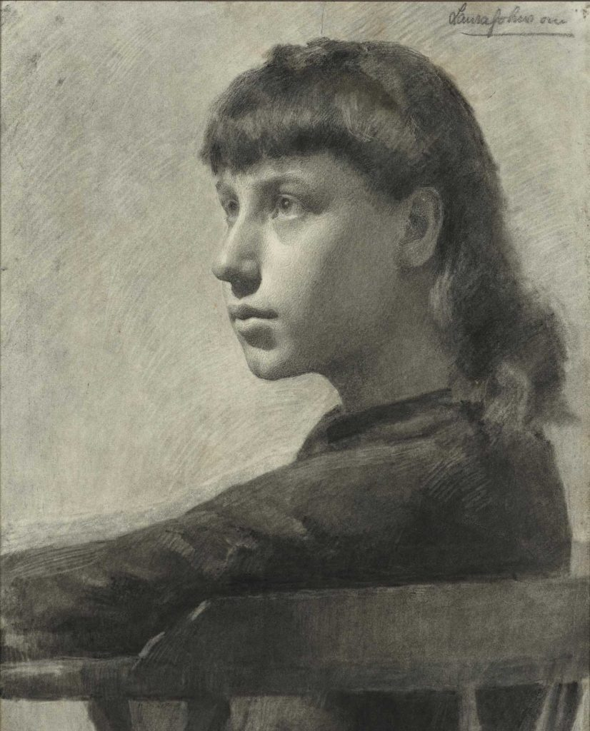 pencil sketch of young woman with fringed hair in side profile